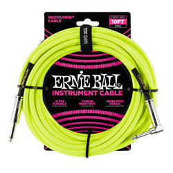 Ernie Ball Braided Instrument Cable - 1/4 TS to Right Angle 1/4 TS, 10', Neon Yellow