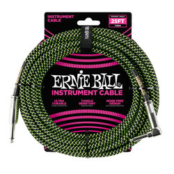 Ernie Ball Braided Instrument Cable - 1/4 TS to Right Angle 1/4 TS, 25', Black/Green