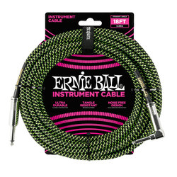 Ernie Ball Braided Instrument Cable - Black/Green, Straight/Right Angle, 18'
