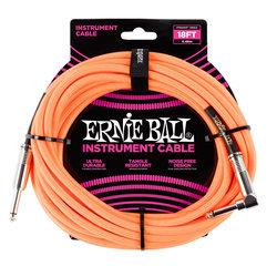 Ernie Ball Braided Instrument Cable - Neon Orange, Straight/Right Angle, 18'