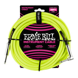 Ernie Ball Braided Instrument Cable - Neon Yellow, Straight/Right Angle, 18'