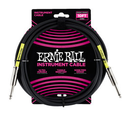 Ernie Ball Instrument Cable - 1/4 TS to 1/4 TS, 10', Black