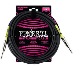 Ernie Ball Instrument Cable - 1/4 TS to 1/4 TS, 20', Black