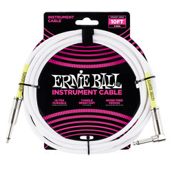 Ernie Ball Instrument Cable - 1/4 TS to Right Angle 1/4 TS, 10', White