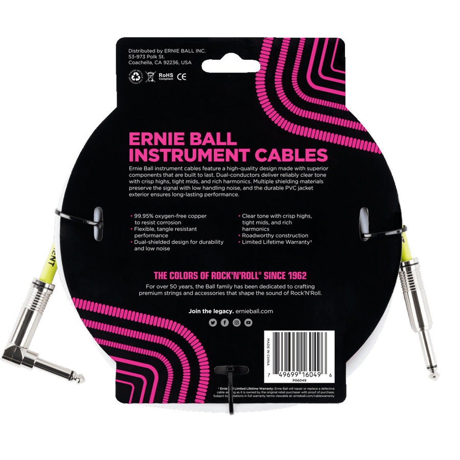 View larger image of Ernie Ball Instrument Cable - 1/4 TS to Right Angle 1/4 TS, 10', White