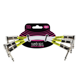 Ernie Ball Patch Cable - Right Angle 1/4 TS to Right Angle 1/4 TS, 6, 3-Pack, White