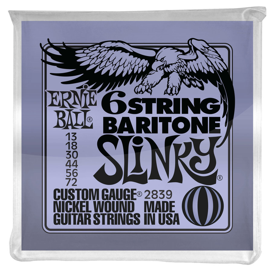 View larger image of Ernie Ball PO2839 Slinky 6-String Baritone Guitar Strings with Small Ball Ends