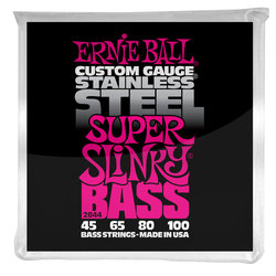 Ernie Ball PO2844 Super Slinky Stainless Steel Electric Bass Guitar Strings