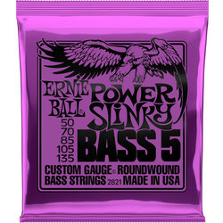 Ernie Ball Power Slinky 5-String Nickel Wound Electric Bass Guitar Strings - 50-135 Gauge