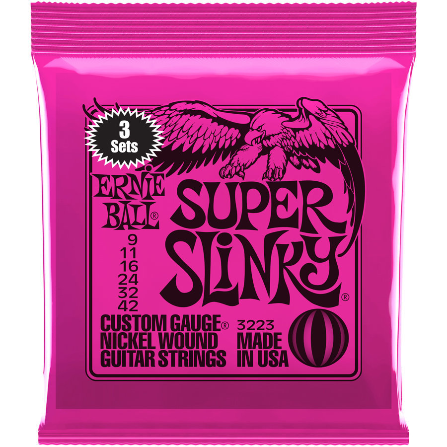 View larger image of Ernie Ball Super Slinky Nickel Wound Electric Guitar Strings - 9-42, 3 Pack