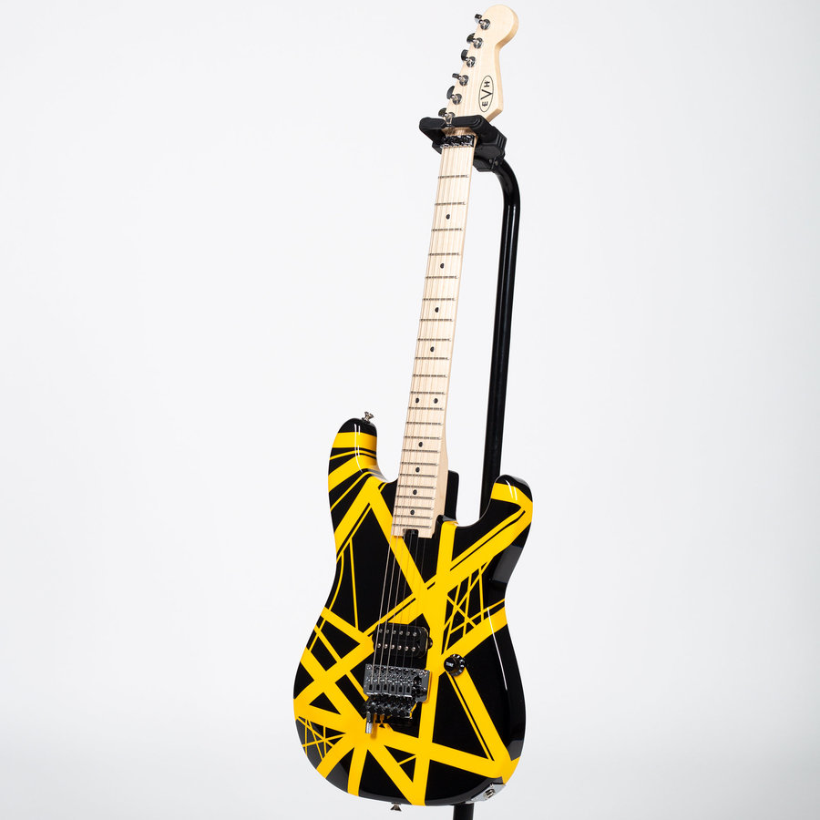 View larger image of EVH Striped Series Electric Guitar - Maple, Black with Yellow Stripes