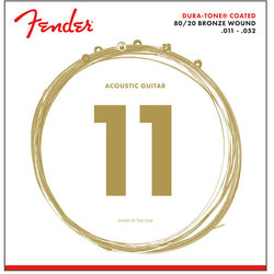 Fender 80/20 Dura-Tone Coated Acoustic Guitar Strings - Bronze Wound, 11-52