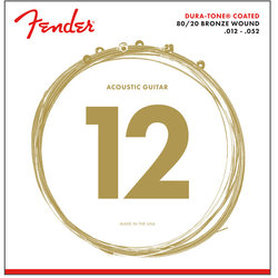 Fender 80/20 Dura-Tone Coated Acoustic Guitar Strings - Bronze Wound, 12-52