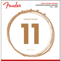 Fender 860CL Dura-Tone Coated Acoustic Guitar Strings - Phosphor Bronze Wound, 11-52
