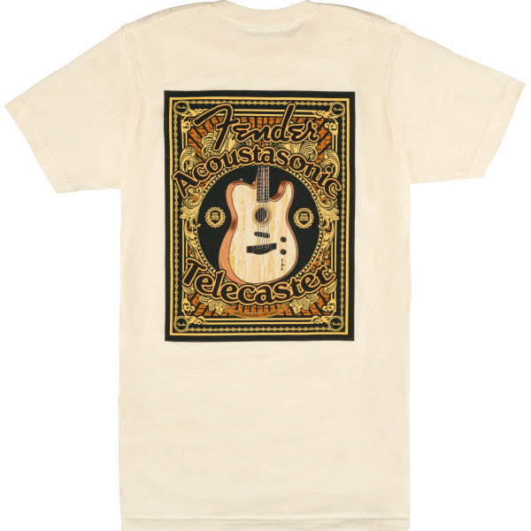 View larger image of Fender Acoustasonic Telecaster T-Shirt - Cream, Large