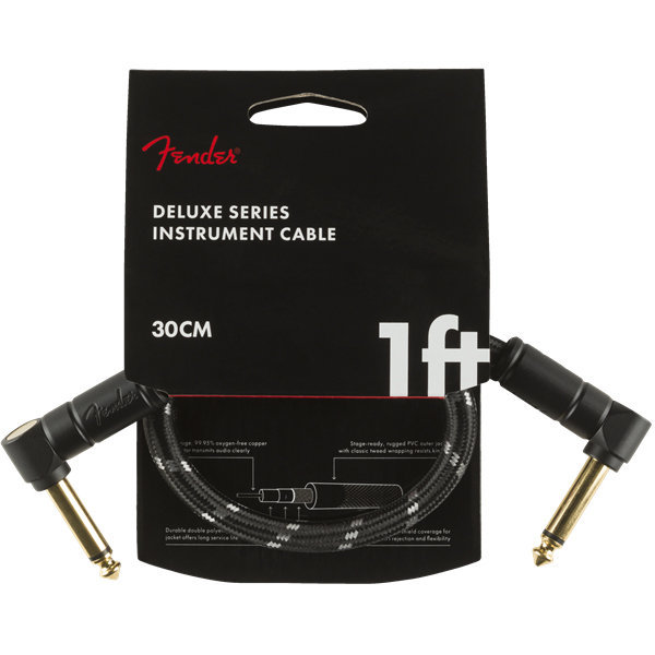 View larger image of Fender Deluxe Series Instrument Cable - Angle / Angle, 1', Black Tweed