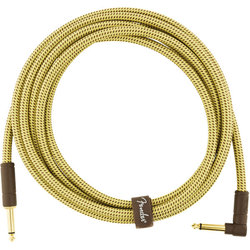 Fender Deluxe Series Instrument Cable - Straight / Angle, 10', Tweed
