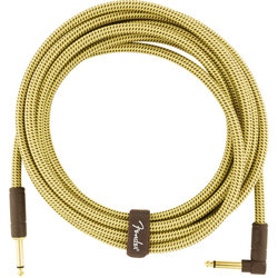 Fender Deluxe Series Instrument Cable - Straight / Angle, 15', Tweed