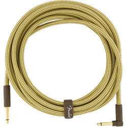 Fender Deluxe Series Instrument Cable - Straight / Angle, 18.6', Tweed
