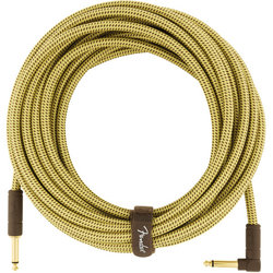 Fender Deluxe Series Instrument Cable - Straight / Angle, 25', Tweed