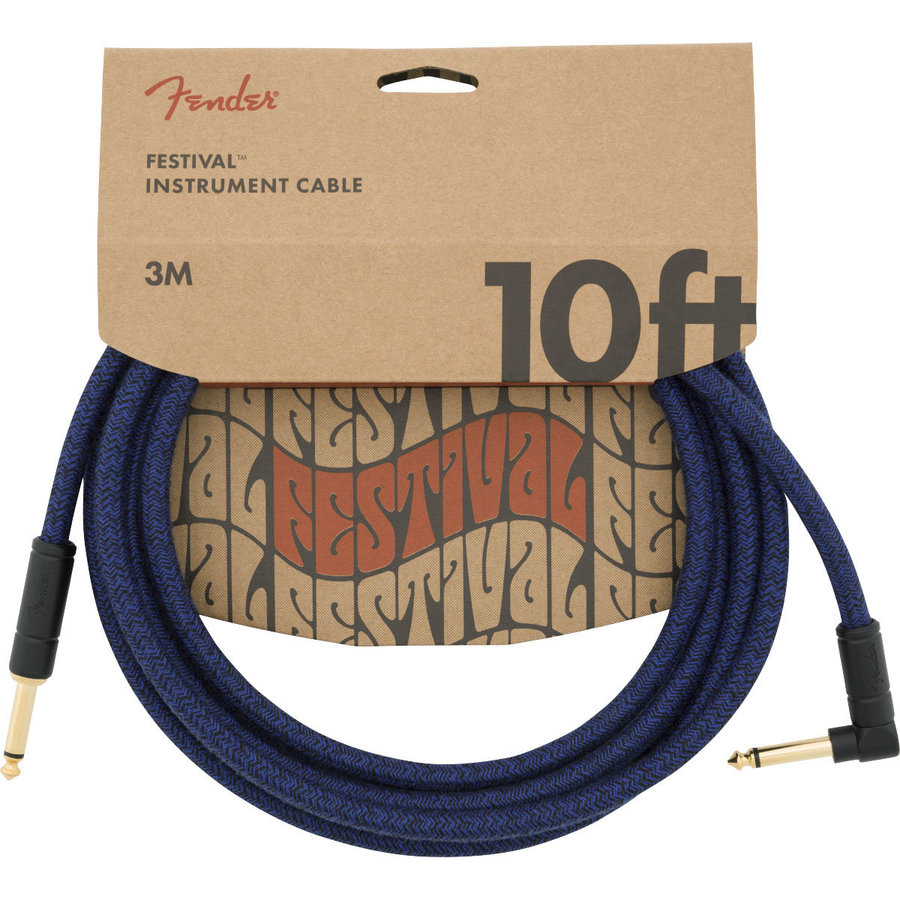 View larger image of Fender Festival Hemp Instrument Cable - Straight / Angled, 10', Blue Dream