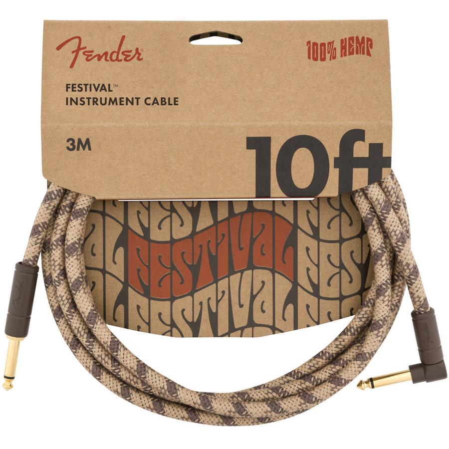 View larger image of Fender Festival Hemp Instrument Cable - Straight / Angled, 10', Brown Stripe