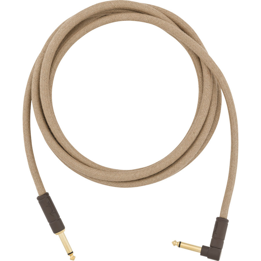 View larger image of Fender Festival Hemp Instrument Cable - Straight / Angled, 10', Natural