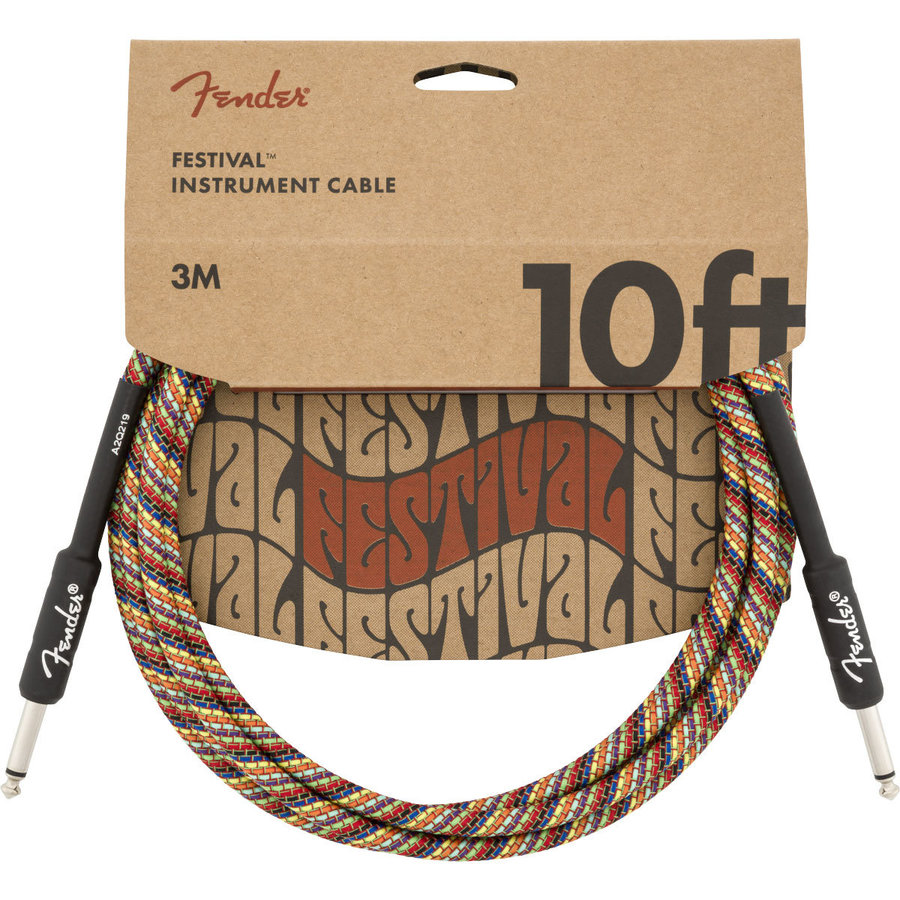 View larger image of Fender Festival Hemp Instrument Cable - Straight / Straight, 10', Rainbow