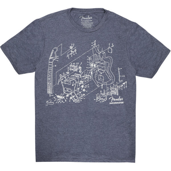 View larger image of Fender Jazzmaster Patent Drawing T-Shirt - Blue, Large
