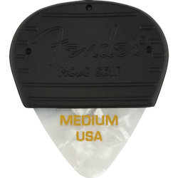 Fender Mojo Pick Grip with Celluloid Pick - Medium, White Moto, 3 Pack