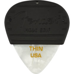 Fender Mojo Pick Grip with Celluloid Pick - Thin, White Moto, 3 Pack