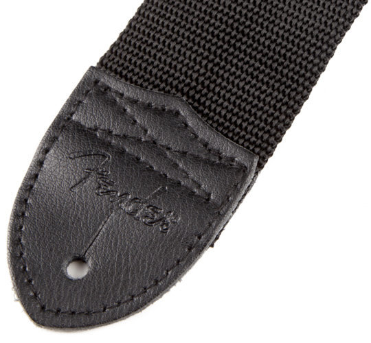 View larger image of Fender Poly Strap with Yellow Fender Logo - Black