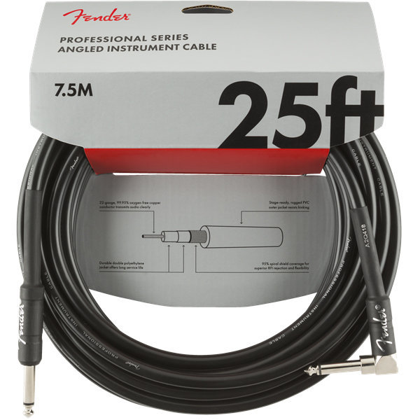View larger image of Fender Professional Series Instrument Cable - Straight / Angle, 25', Black