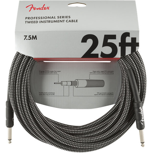View larger image of Fender Professional Series Instrument Cable - Straight / Straight, 25', Gray Tweed