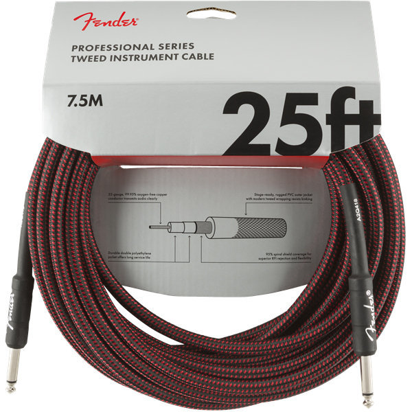 View larger image of Fender Professional Series Instrument Cable - Straight / Straight, 25', Red Tweed