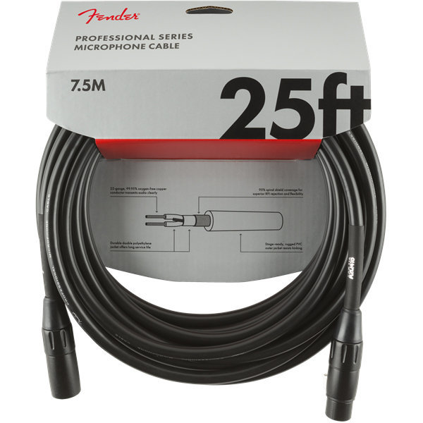 View larger image of Fender Professional Series Microphone Cable - 25', Black