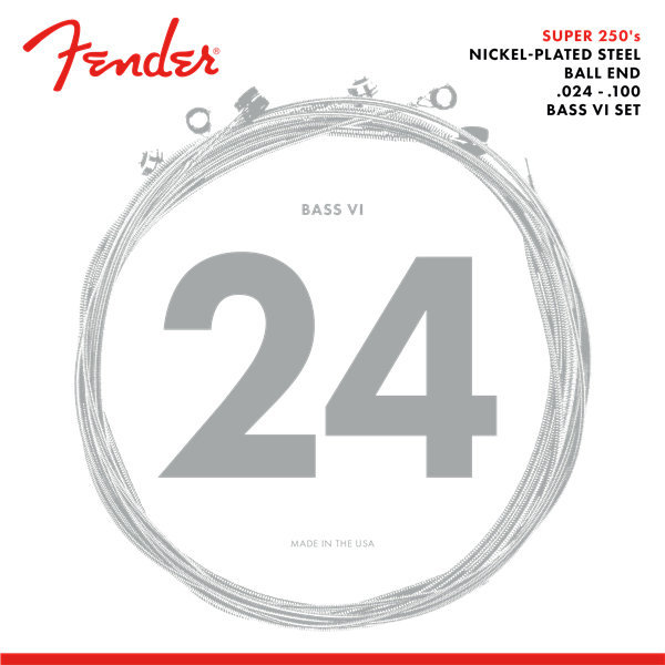 View larger image of Fender Super 250 Bass VI Strings - Ball End, Nickel Plated Steel, 24-100