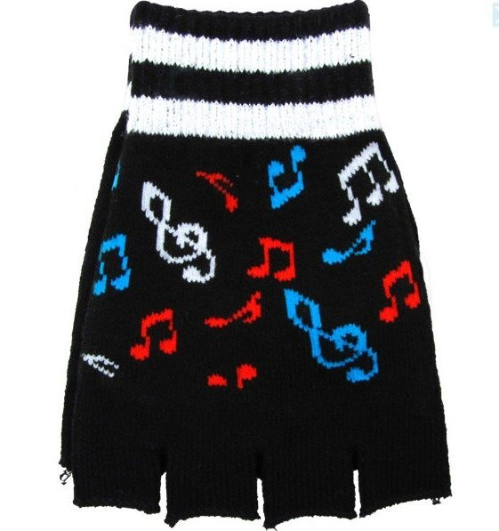 View larger image of Fingerless Gloves - Black with Coloured Notes