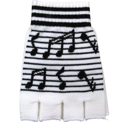 Fingerless Gloves with Staff and Black Notes