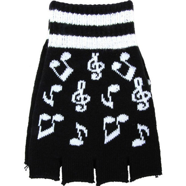 View larger image of Fingerless Music Notes Gloves - Black/White