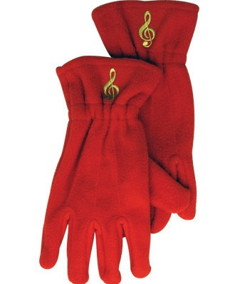 View larger image of Fleece Gloves - G-Clef, Red, Medium/Large