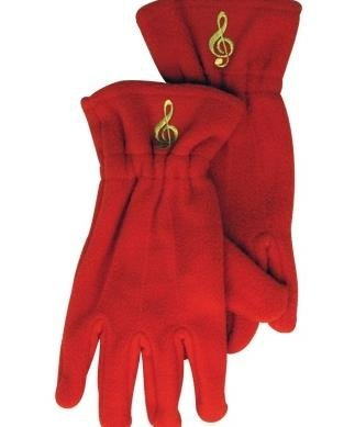 View larger image of Fleece Gloves - G-Clef, Red, Small/Medium