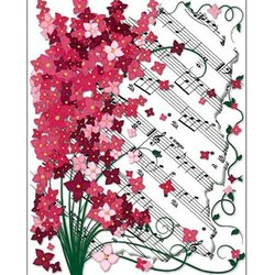 Floral Sheet Music Note Cards - 8 Pack