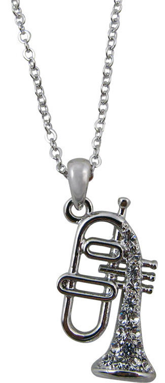 View larger image of Flugelhorn Necklace with Rhinestones - Silver