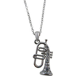 Flugelhorn Necklace with Rhinestones - Silver