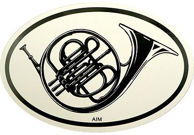 View larger image of French Horn Sticker - Oval