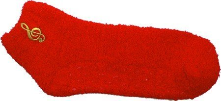 View larger image of Fuzzy G-Clef Socks - Red