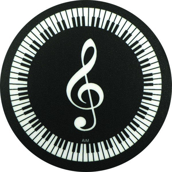 View larger image of G-Clef and Keyboard Vinyl Coaster - Round