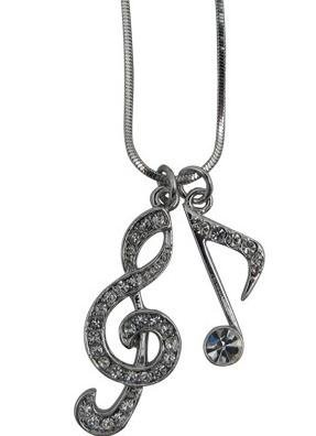 View larger image of G-Clef and Single Note Necklace with Rhinestones