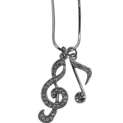 G-Clef and Single Note Necklace with Rhinestones